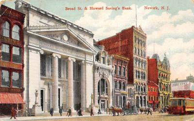 Broad St. & Howard Saving's Bank Newark, New Jersey Postcard