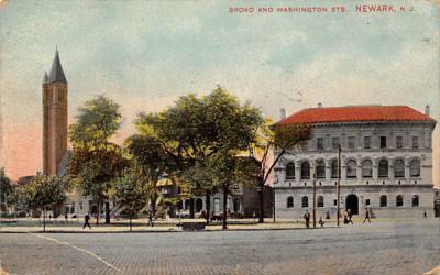 Broad and Washington Sts. Newark, New Jersey Postcard