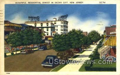Residential Street  - Ocean City, New Jersey NJ Postcard