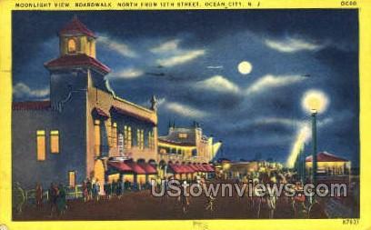 Moonlight View Boardwalk  - Ocean City, New Jersey NJ Postcard