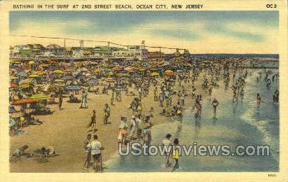 Bathing In The Surf - Ocean City, New Jersey NJ Postcard
