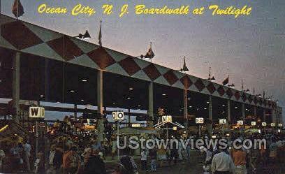 The Boardwalk At Twilight - Ocean City, New Jersey NJ Postcard