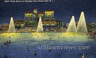 Night Water Sports  - Ocean City, New Jersey NJ Postcard