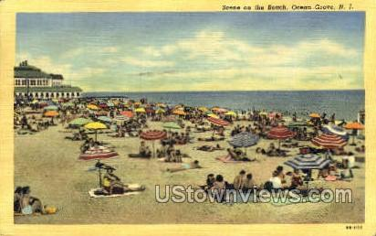 Scene On Beach  - Ocean Grove, New Jersey NJ Postcard
