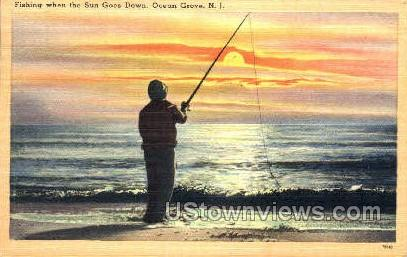 Fishing When The Sun Goes Down  - Ocean Grove, New Jersey NJ Postcard