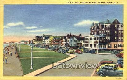 Ocean Avenue - Ocean Grove, New Jersey NJ Postcard
