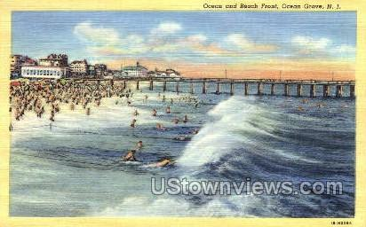 Ocean And Beach Front - Ocean Grove, New Jersey NJ Postcard