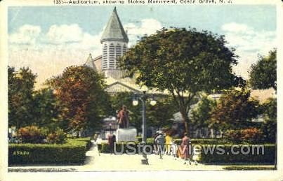 Auditorium And Stokes Monument  - Ocean Grove, New Jersey NJ Postcard