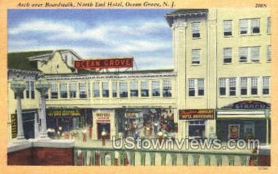 Arch Over Boardwalk  - Ocean Grove, New Jersey NJ Postcard