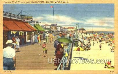 South End Beach And Boardwalk - Ocean Grove, New Jersey NJ Postcard