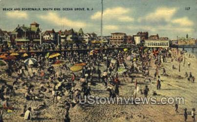 Beach And Boardwalk - Ocean Grove, New Jersey NJ Postcard