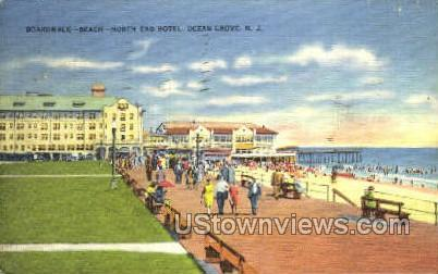 Boardwalk Beach North End Hotel - Ocean Grove, New Jersey NJ Postcard