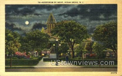 Auditorium By Night - Ocean Grove, New Jersey NJ Postcard