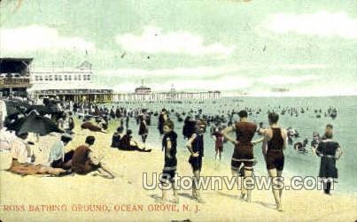 Ross Bathing Beach - Ocean Grove, New Jersey NJ Postcard