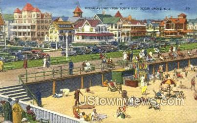 Ocean Avenue - Ocean Grove, New Jersey NJ Postcard