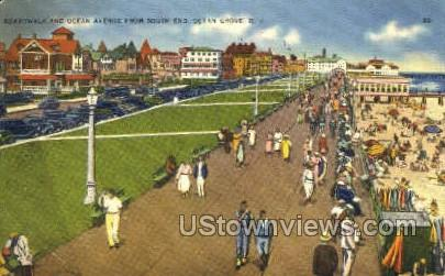 Boardwalk And Ocean Ave - Ocean Grove, New Jersey NJ Postcard
