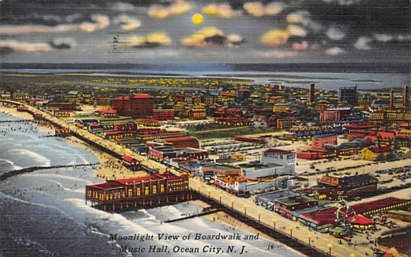 Moonlight View of Boardwalk and Music Hall Ocean City, New Jersey Postcard
