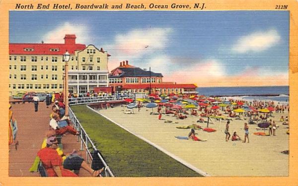 North End Hotel, Boardwalk and Beach Ocean Grove, New Jersey Postcard