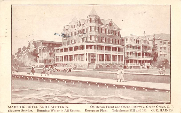 Majestic Hotel and Cafeteria Ocean Grove, New Jersey Postcard