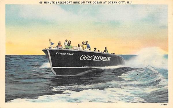Speedboat Ride on Ocean at Ocean City New Jersey Postcard