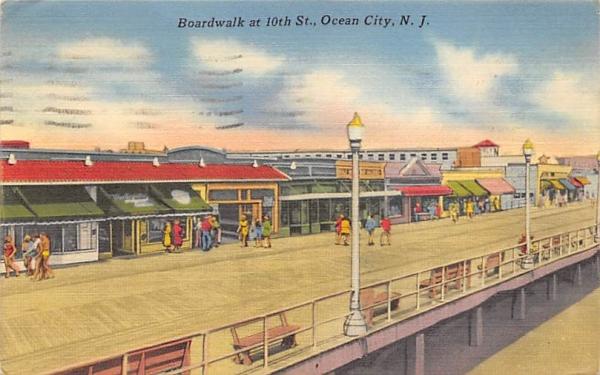 Boardwalk at 10th St. Ocean City, New Jersey Postcard