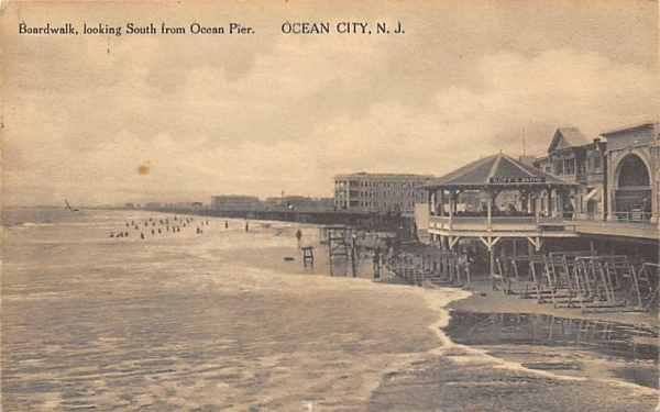 Boardwalk, looking South from Ocean Pier Ocean City, New Jersey Postcard