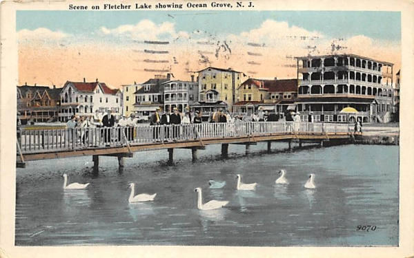 Scene on Fletcher Lake showing Ocean Grove New Jersey Postcard