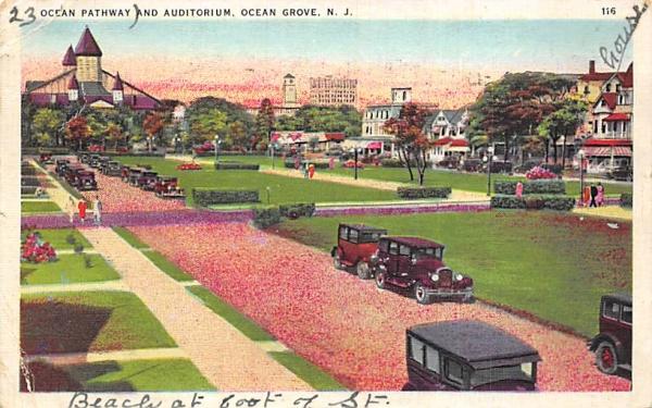 Ocean Pathway and Auditorium Ocean Grove, New Jersey Postcard