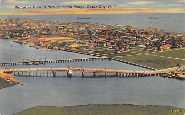 Bird's-Eye View at New Memorial Bridge Ocean City, New Jersey Postcard