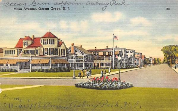 Main Aveune Ocean Grove, New Jersey Postcard