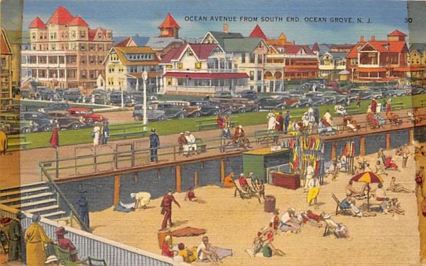 Ocean Aveune from South End Ocean Grove, New Jersey Postcard