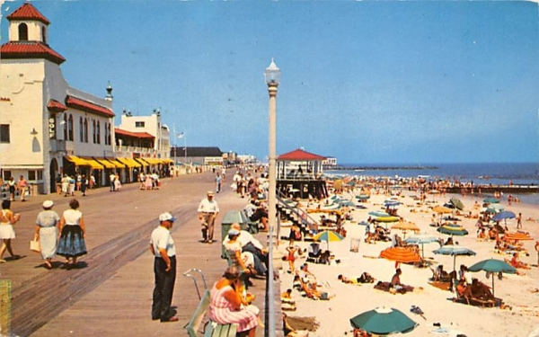 A view of the farmed beach and boardwalk Ocean City, New Jersey Postcard