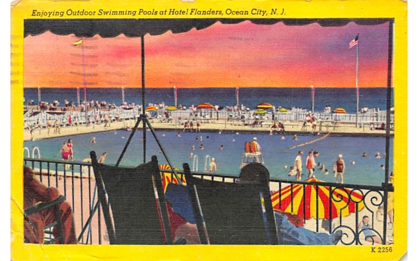 Enjoying Outdoor Swimming Pools at Hotel Flanders Ocean City, New Jersey Postcard