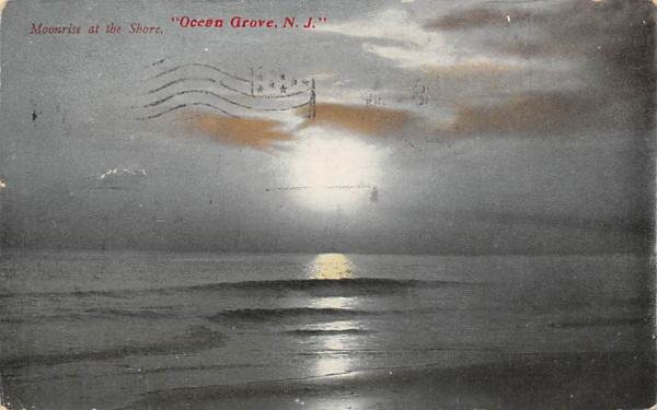 Moonrise at the Shore Ocean Grove, New Jersey Postcard