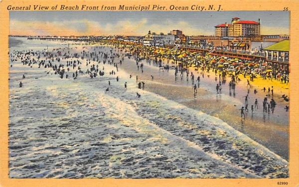 Beach Front from Municipal Pier Ocean City, New Jersey Postcard