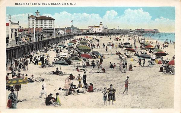 Beach at 14th Street Ocean City, New Jersey Postcard