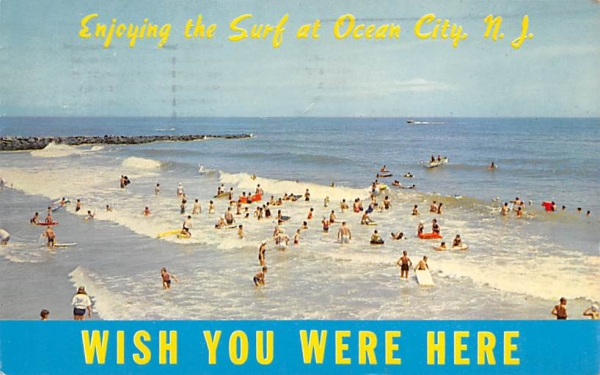 Rolling Surf and Beach View Ocean City, New Jersey Postcard