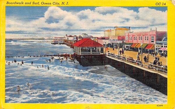 Boardwalk and Surf Ocean City, New Jersey Postcard