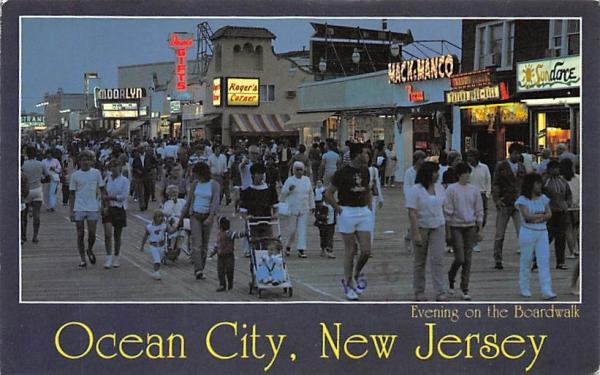 Evening on the Boardwalk Ocean City, New Jersey Postcard