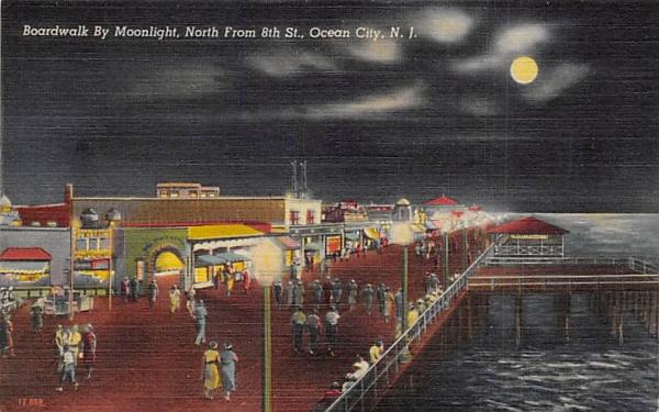 Boardwalk By Moonlight Ocean City, New Jersey Postcard