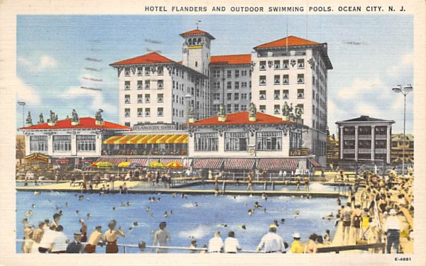 Hotel Flanders and Outdoor Swimming Pools Ocean City, New Jersey Postcard