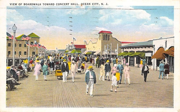 View of Boardwalk Toward Concert Hall Ocean City, New Jersey Postcard