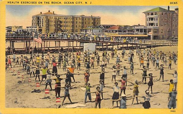 Health Exercises on the Beach Ocean City, New Jersey Postcard