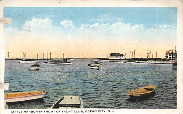 Little Harbor in Front of Yacht Club Ocean City, New Jersey Postcard
