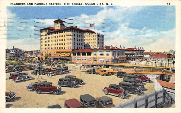 Flanders and Parking Station Ocean City, New Jersey Postcard