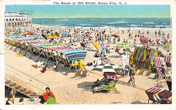 The Beach at 10th Street Ocean City, New Jersey Postcard