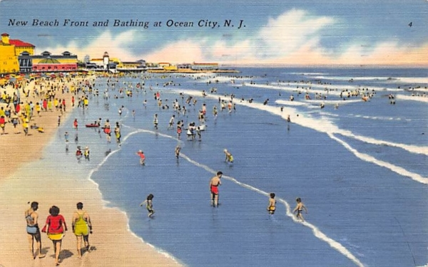 New Beach Front and Bathing Ocean City, New Jersey Postcard
