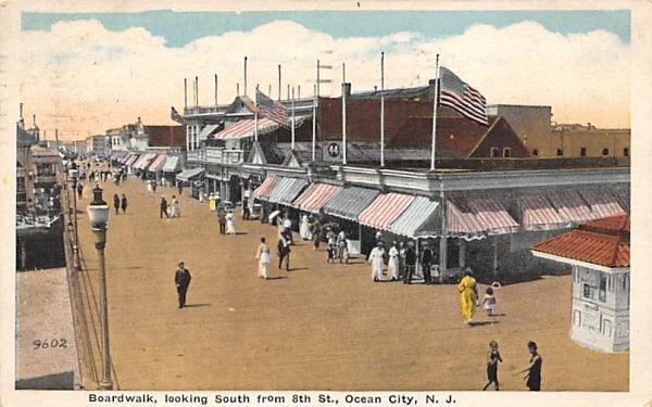 Boardwalk, looking South Ocean City, New Jersey Postcard