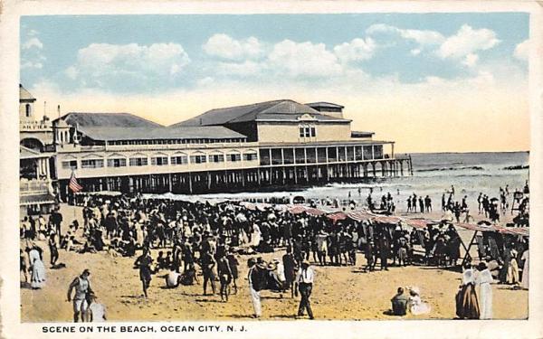 Scene on the Beach Ocean City, New Jersey Postcard
