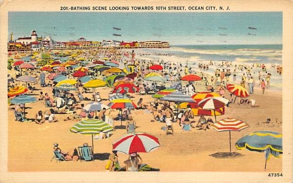 Bathing Scene looking towards 10th Street Ocean City, New Jersey Postcard